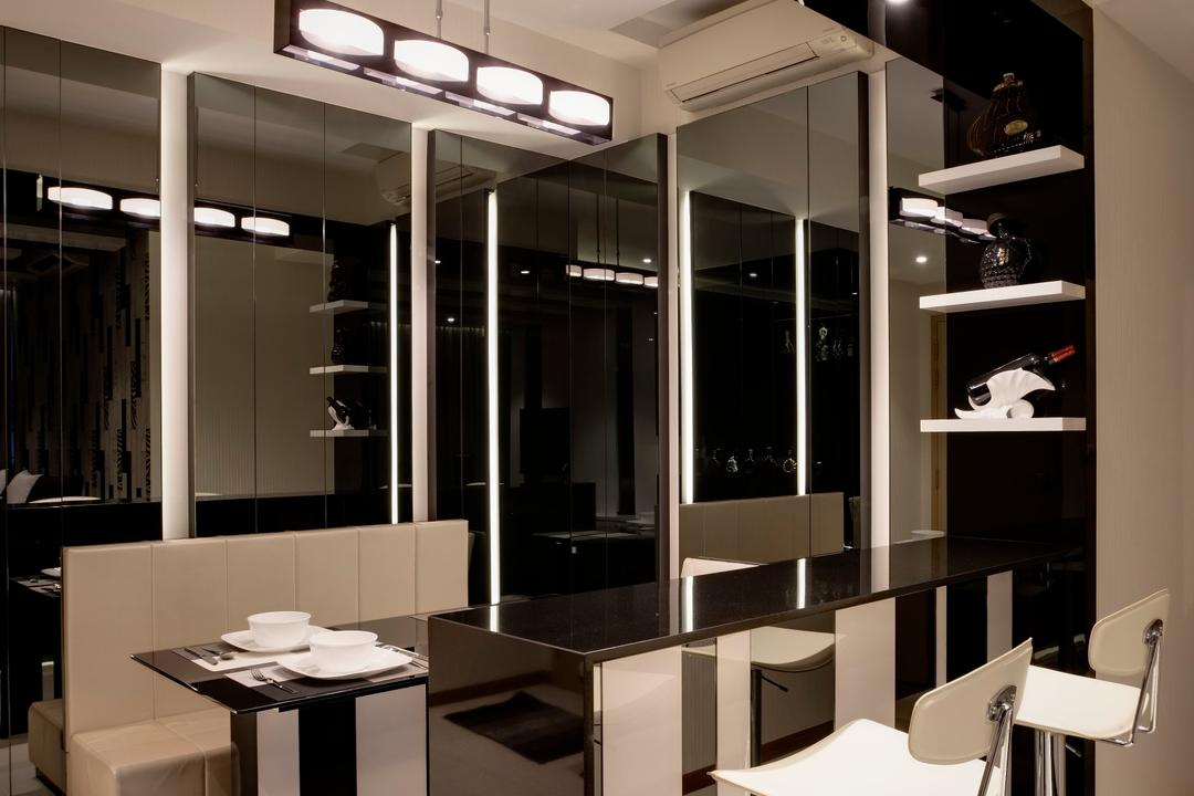 Botanique, The Orange Cube, Modern, Dining Room, Condo, Build In Bench, Dining Table, Black Bar Top, White Stool, Dining Lights, Sink, Indoors, Interior Design, Room