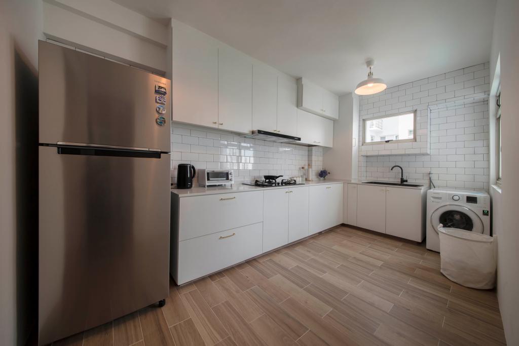 Scandinavian, HDB, Kitchen, Punggol Plains, Interior Designer, Aart Boxx Interior, Appliance, Electrical Device, Fridge, Refrigerator, Washer, Flooring, Floor