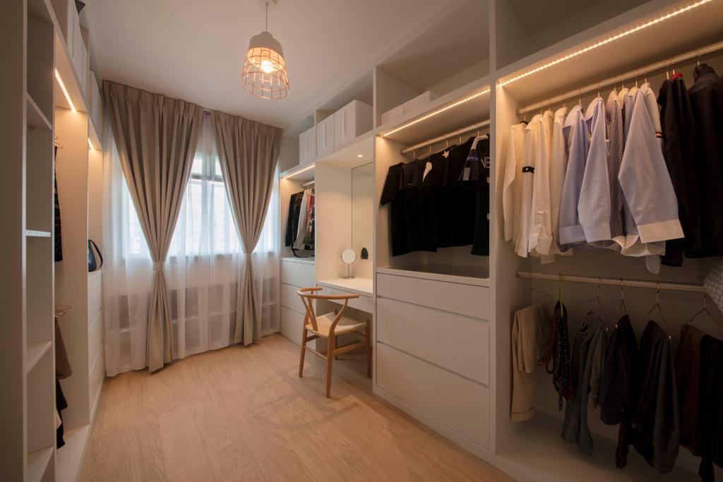 Scandinavian, HDB, Bedroom, Punggol Plains, Interior Designer, Aart Boxx Interior, Closet, Indoors, Room