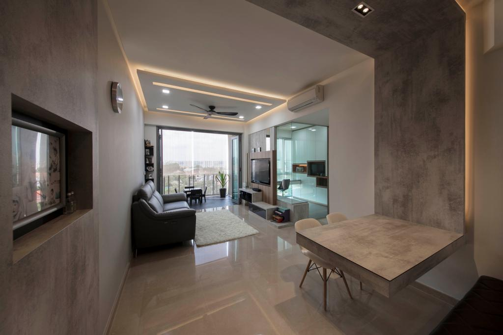 Modern, Condo, Living Room, The Glades, Interior Designer, Aart Boxx Interior, Dining Table, Furniture, Table, Couch, Chair, Flooring