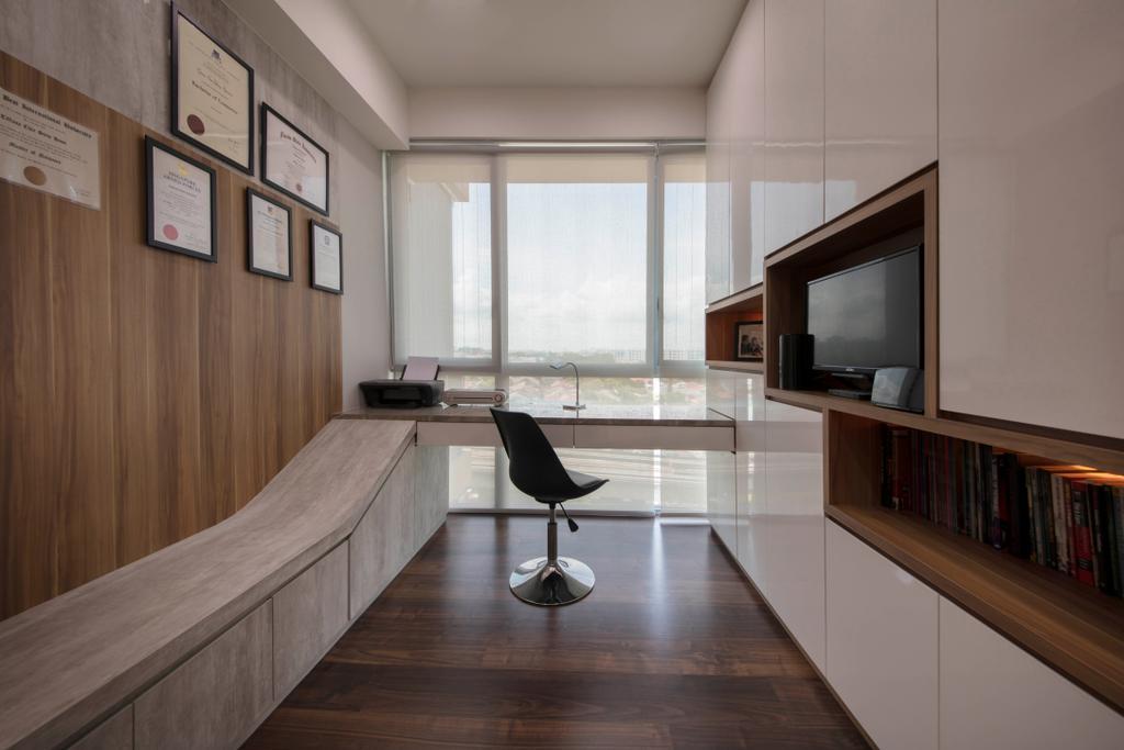 Modern, Condo, Study, The Glades, Interior Designer, Aart Boxx Interior, Hardwood, Wood, Electronics, Entertainment Center, Chair, Furniture, Floor