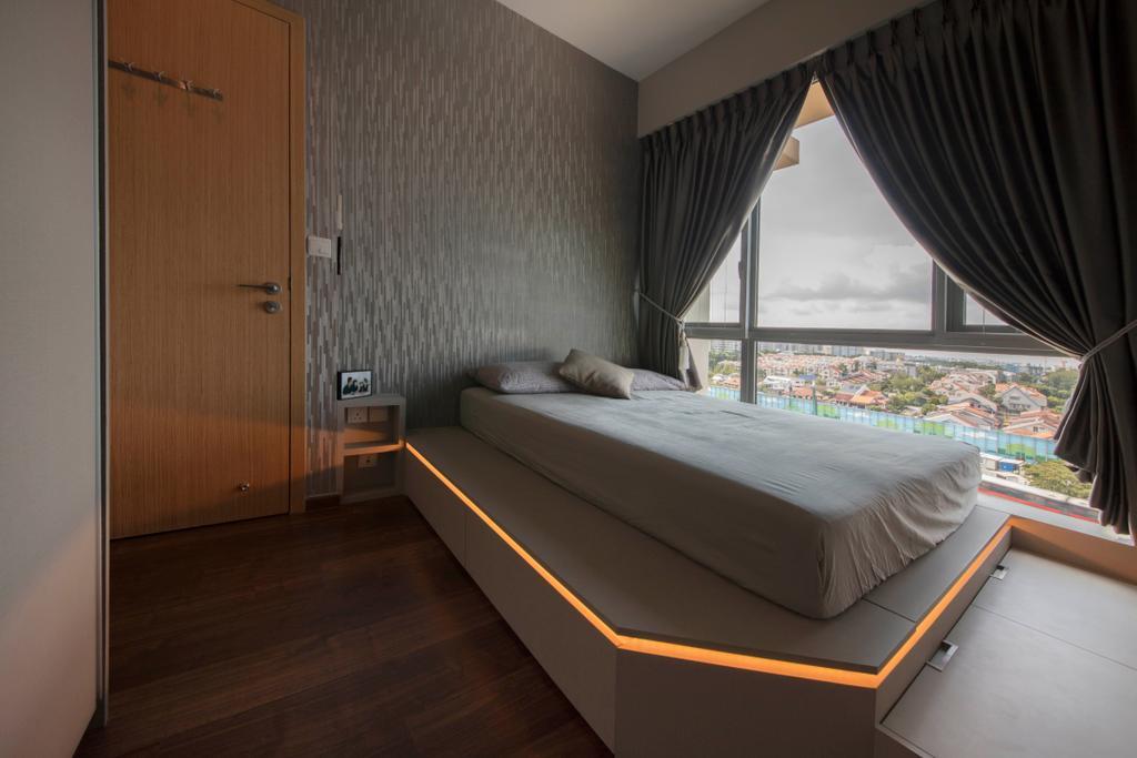 Modern, Condo, Bedroom, The Glades, Interior Designer, Aart Boxx Interior, Bed, Furniture, Curtain, Home Decor