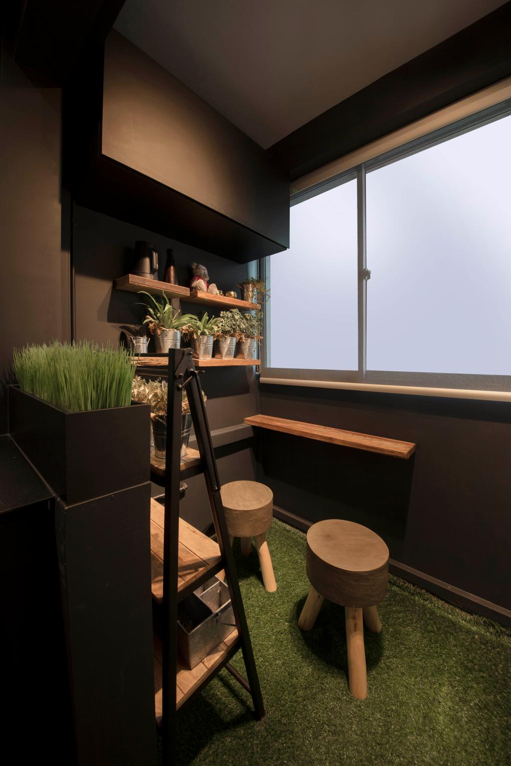 Eclectic, HDB, Balcony, Chai Chee, Interior Designer, Aart Boxx Interior, Flora, Jar, Plant, Potted Plant, Pottery, Vase, Indoors, Interior Design, Chair, Furniture