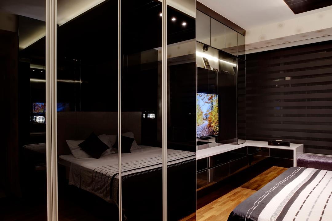 Botanique, The Orange Cube, Modern, Bedroom, Condo, Black Wardrobe, Wood Floor, Bed, Furniture, Door, Sliding Door