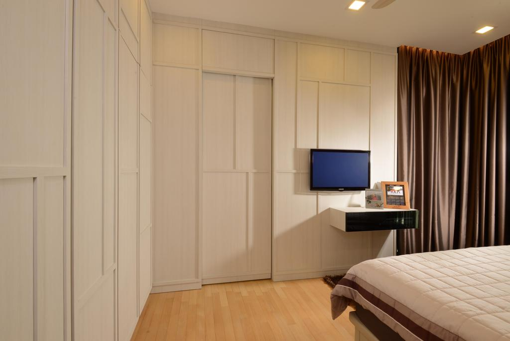Contemporary, Condo, Bedroom, Caribbean@Keppel Bay, Interior Designer, The Orange Cube, White Wardrobe, White Cupboard, Wood Floor, Downl Ights, Indoors, Interior Design, Room