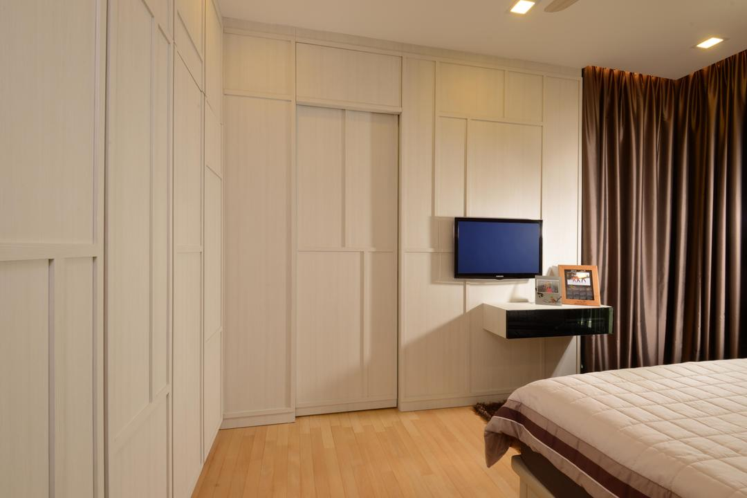 Caribbean@Keppel Bay, The Orange Cube, Contemporary, Bedroom, Condo, White Wardrobe, White Cupboard, Wood Floor, Downl Ights, Indoors, Interior Design, Room