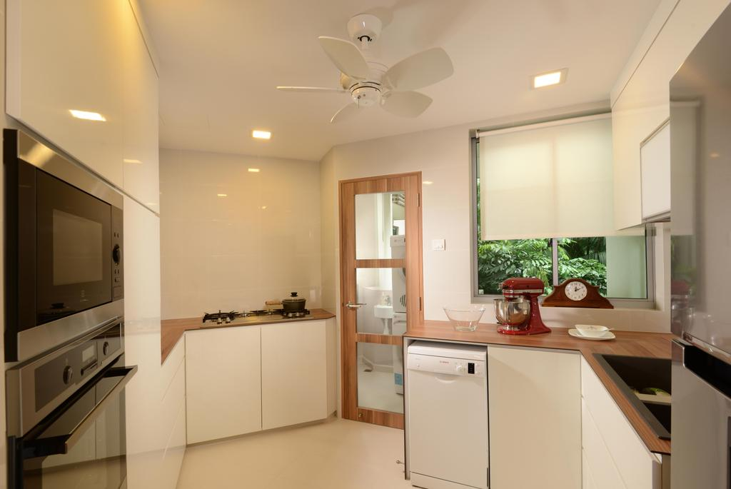 Contemporary, Condo, Kitchen, Caribbean@Keppel Bay, Interior Designer, The Orange Cube, White Ceiling Fan, Kompac, Kompactop, Kompacplus, White Blinds, Downl Ights, Indoors, Interior Design, Room, Appliance, Electrical Device, Oven, Dishwasher