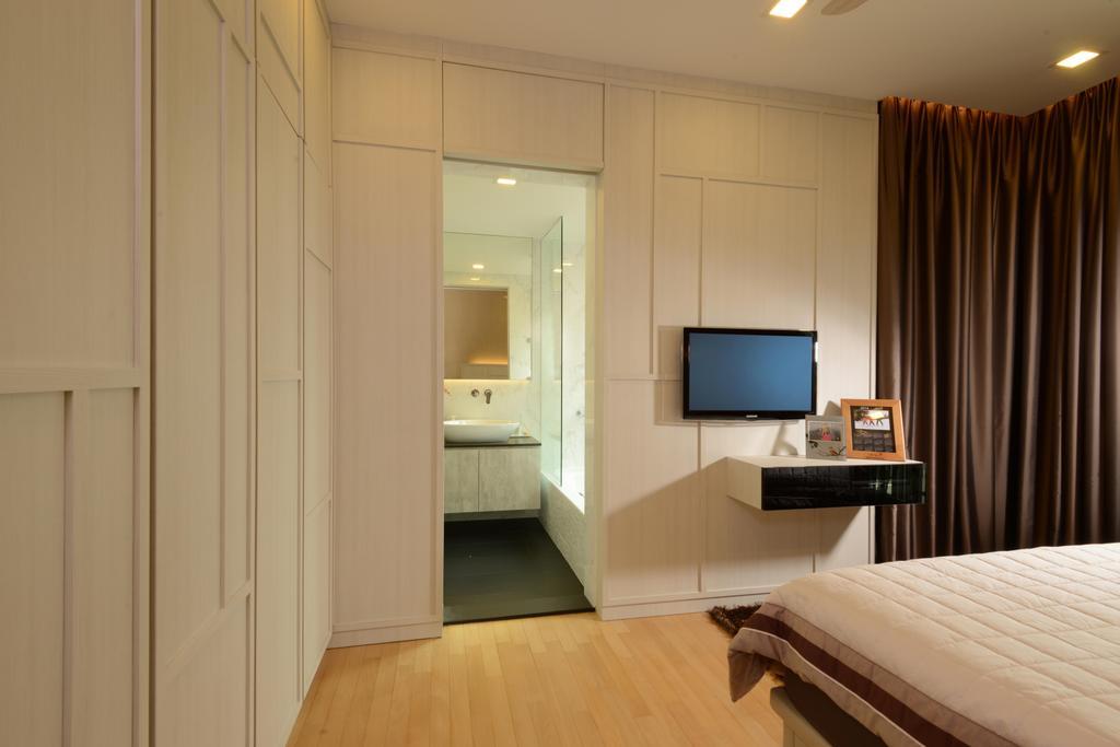 Contemporary, Condo, Bedroom, Caribbean@Keppel Bay, Interior Designer, The Orange Cube, White Wardrobe, White Cupboard, Wood Floor, Downl Ights, Indoors, Interior Design
