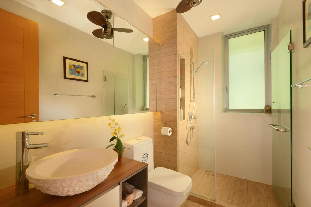 Contemporary, Condo, Bathroom, Caribbean@Keppel Bay, Interior Designer, The Orange Cube, Ceiling Fan, Mirror, Shower Screen, Resort, Kompactop, Round Sink, Indoors, Interior Design, Room, Toilet