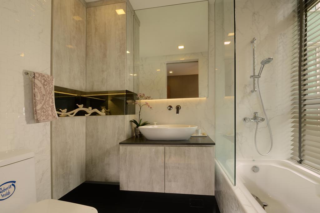 Contemporary, Condo, Bathroom, Caribbean@Keppel Bay, Interior Designer, The Orange Cube, Bath Tub, Blinds, Shower Screen, Granite Top, Sink, Cove Light, Indoors, Interior Design, Room