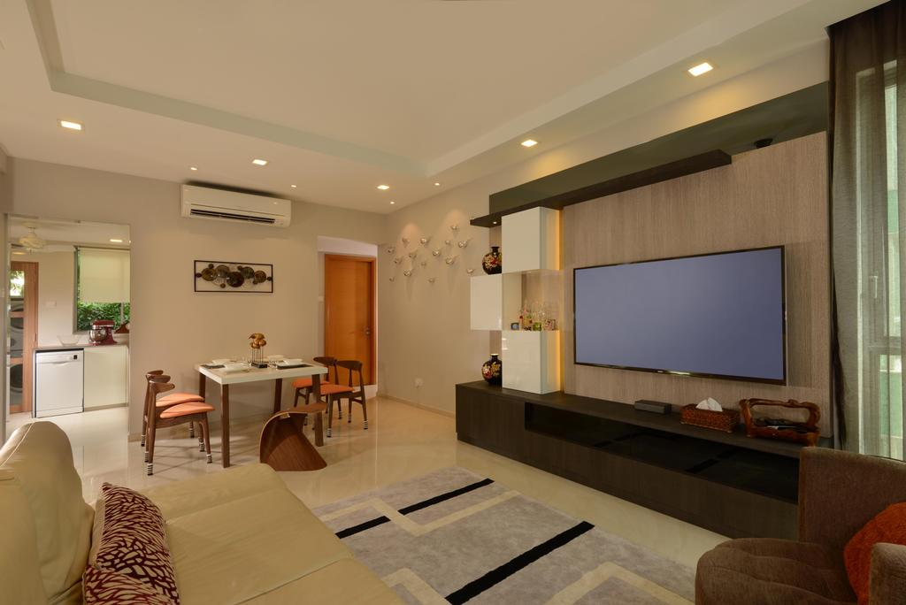 Contemporary, Condo, Living Room, Caribbean@Keppel Bay, Interior Designer, The Orange Cube, Tv, White Leather Sofa, Feature Wall, Tv Console, Down Lights, Dining Table, Dining Chairs, White Marble Floor, Couch, Furniture, Indoors, Room