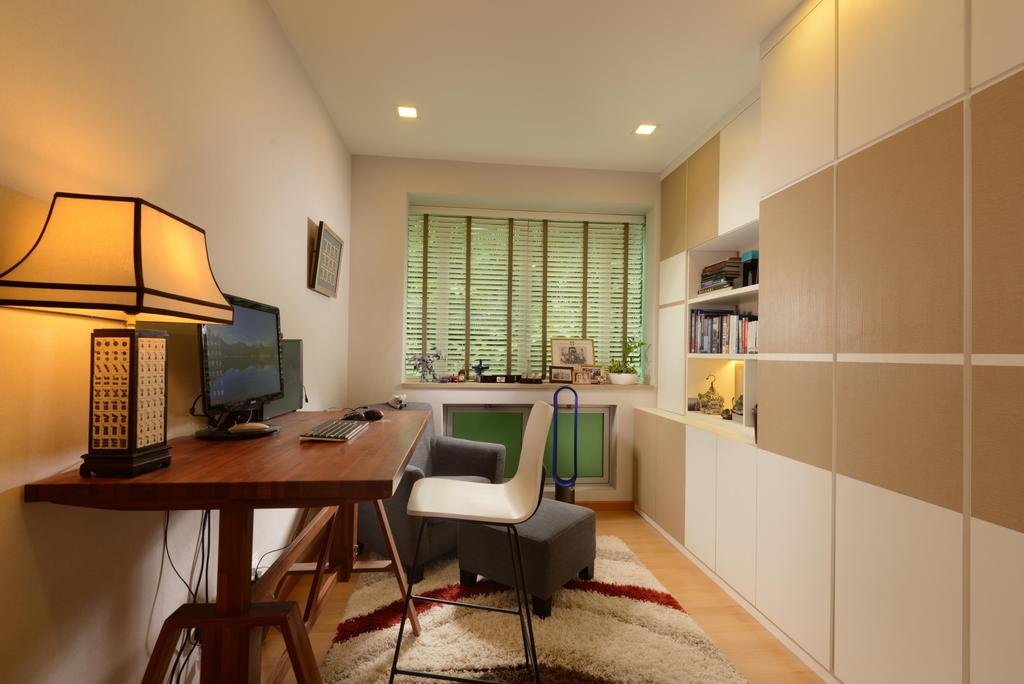 Contemporary, Condo, Study, Caribbean@Keppel Bay, Interior Designer, The Orange Cube, Wood Desk, Blinds, Down Lights, Cupboard, Shleving, Chair, Furniture, Electronics, Monitor, Screen, Tv, Television, Indoors, Interior Design, Lamp