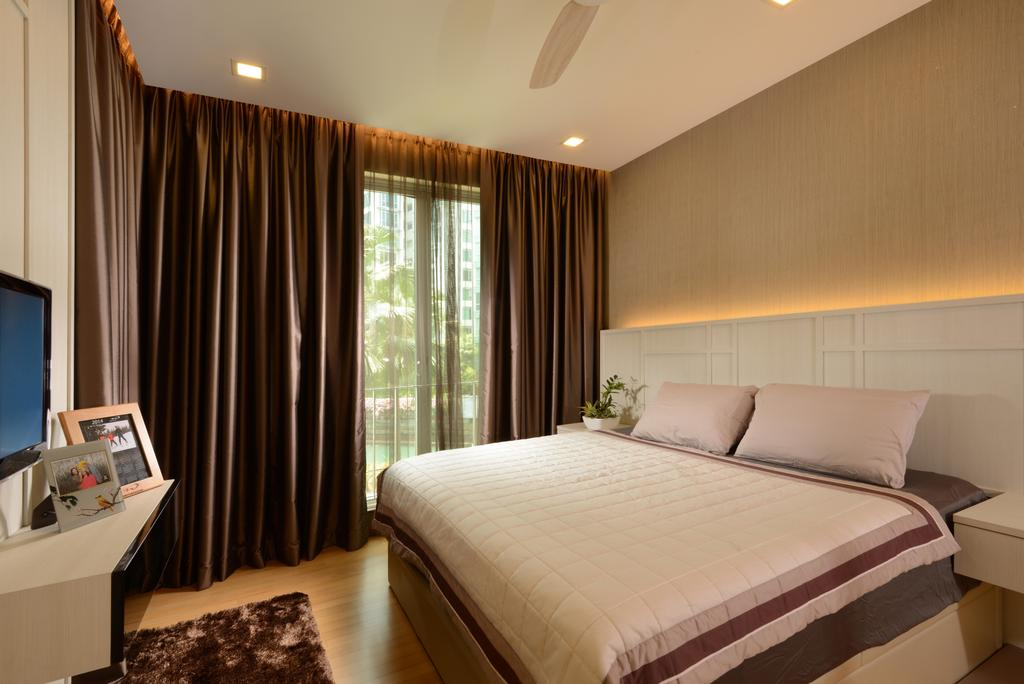 Contemporary, Condo, Bedroom, Caribbean@Keppel Bay, Interior Designer, The Orange Cube, Cove Light, Head Board, Down Lights, Indoors, Interior Design, Room, Bed, Furniture