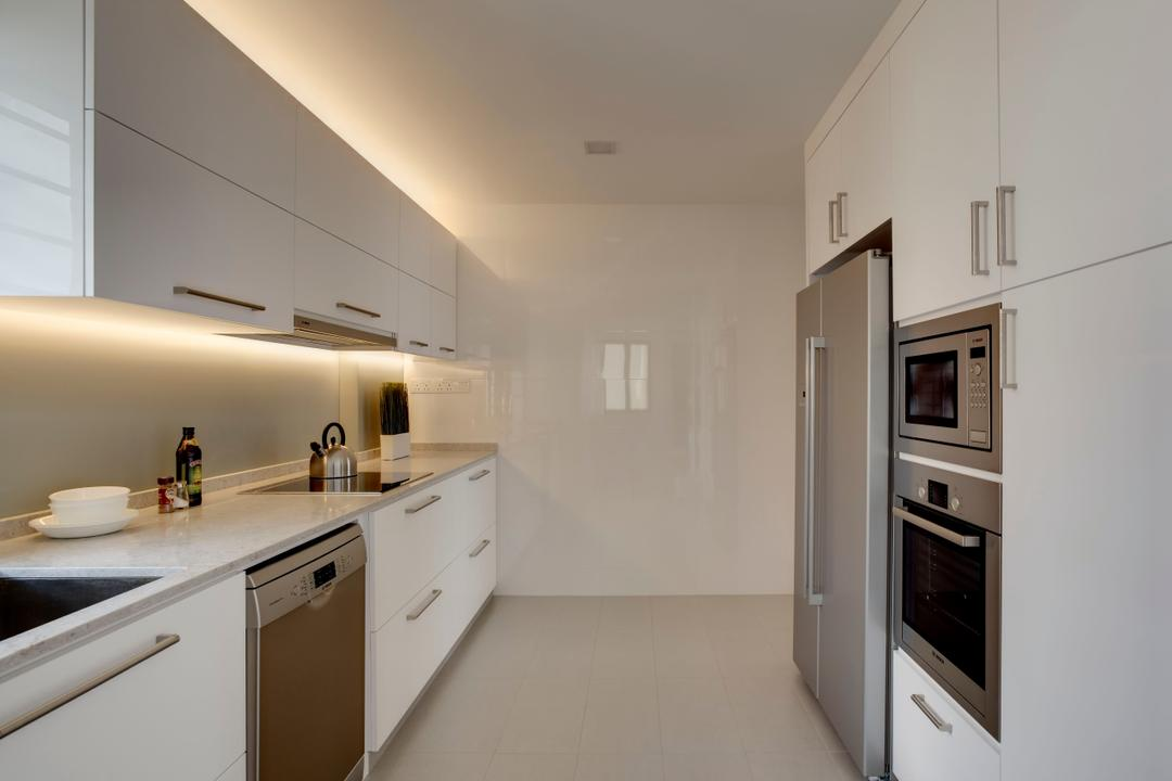 Chestervale, The Orange Cube, Minimalistic, Kitchen, Condo, White, Clean, Fridge, Dryer, Laminate, Cove Light, Cabinets, Oven, Stove, Hood, Appliance, Electrical Device, Indoors, Interior Design