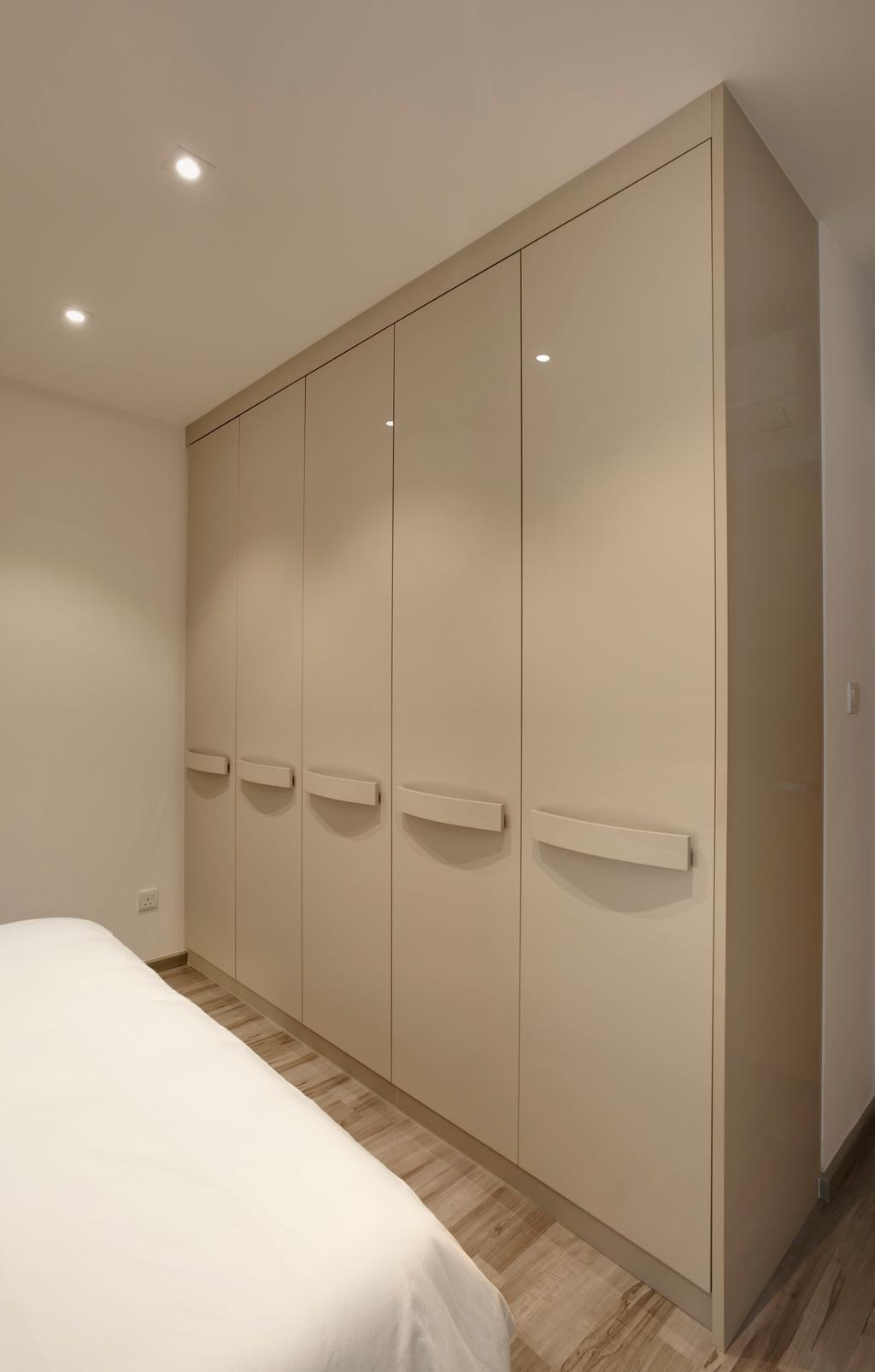 Minimalistic, Condo, Bedroom, Chestervale, Interior Designer, The Orange Cube, Wardroble, Wood Floor, Down Light