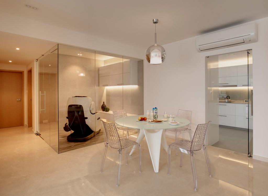 Minimalistic, Condo, Dining Room, Chestervale, Interior Designer, The Orange Cube, Hanging Light, Dining Light, Round Table, Chairs, Dining Table, Dining Chair, Aircon, Marble, Tiles, Furniture, Table, Indoors, Interior Design, Room, Chair