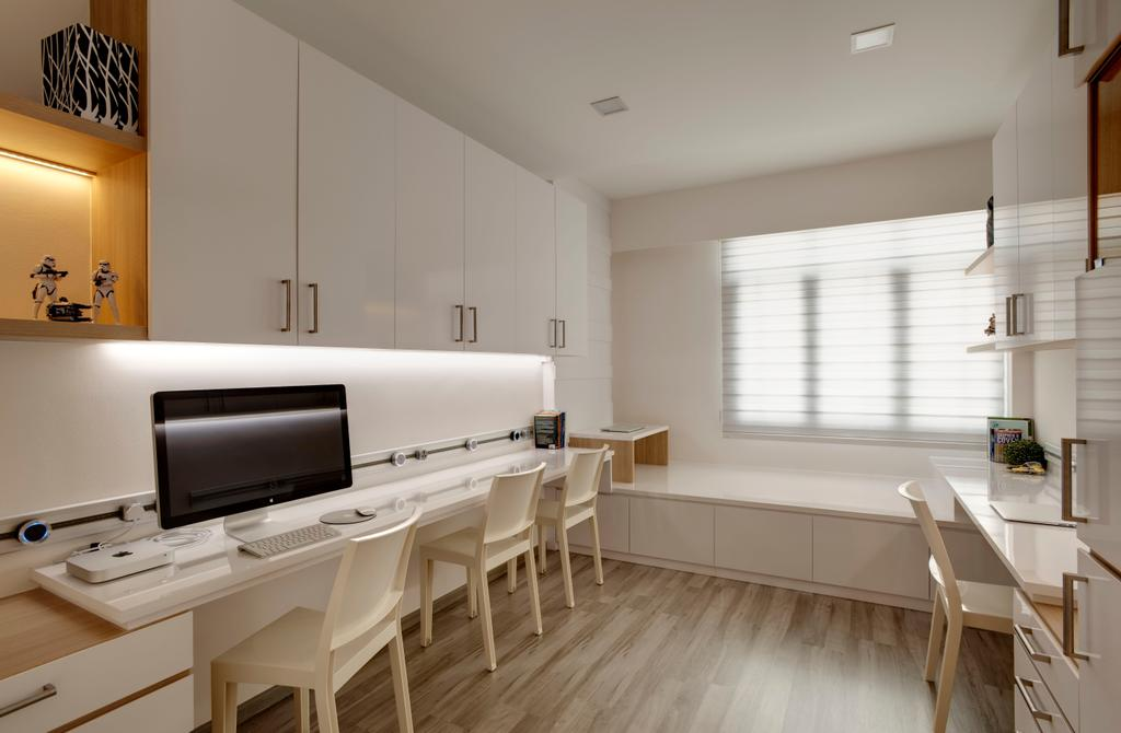 Minimalistic, Condo, Study, Chestervale, Interior Designer, The Orange Cube, Wood Floor, Blinds, Study Table, Computer, Sleving, Dining Table, Furniture, Table, Indoors, Interior Design, Hardwood, Wood