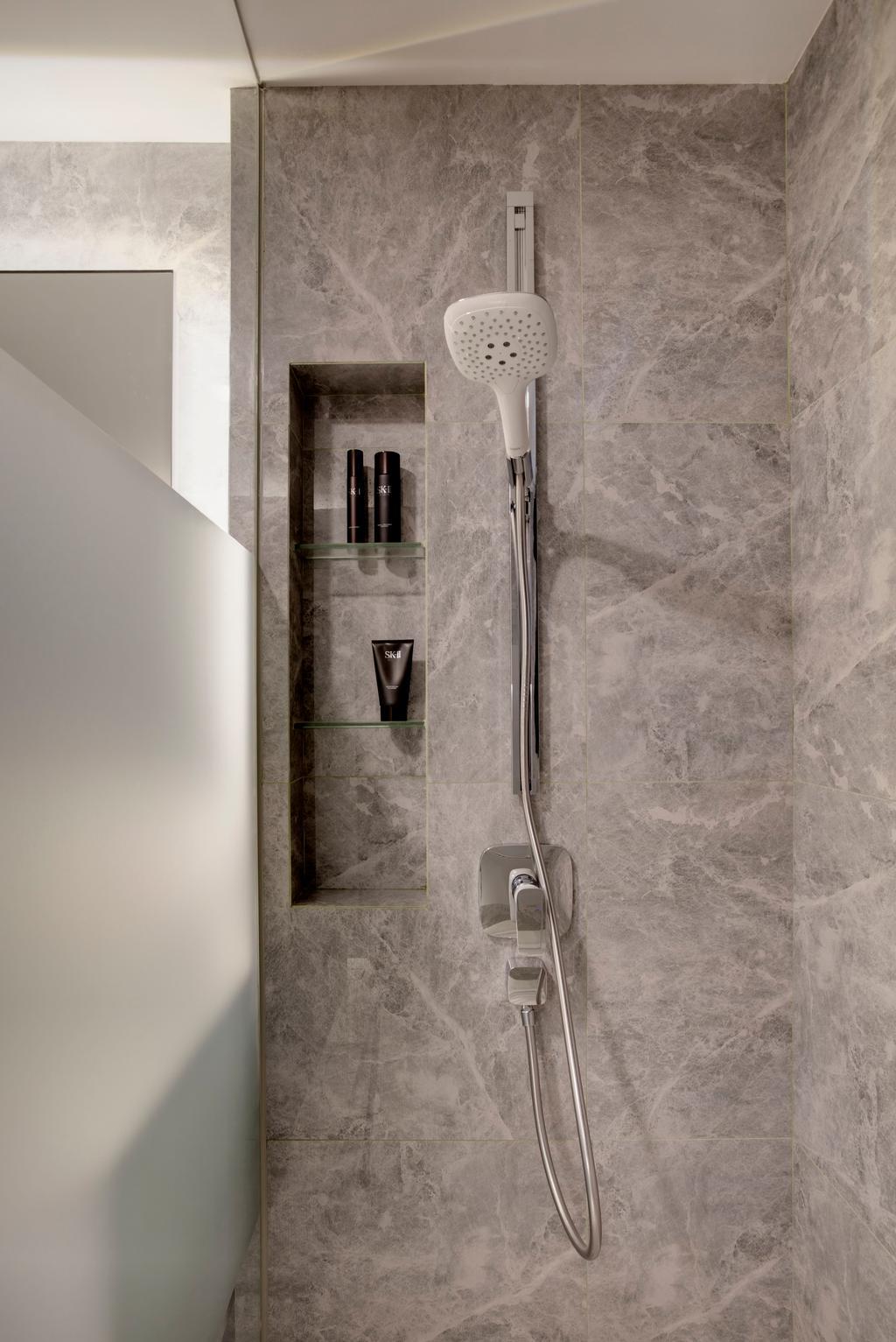 Minimalistic, Condo, Bathroom, Chestervale, Interior Designer, The Orange Cube, Shower, Wall Tiles, Shower Screen