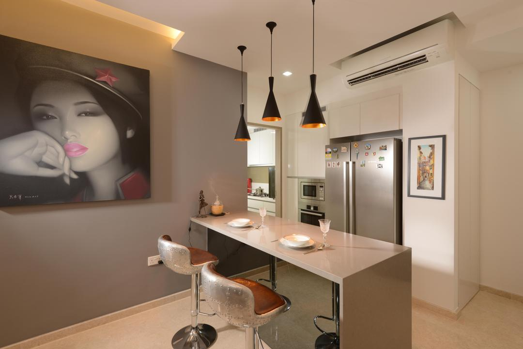 Flamingo Valley, The Orange Cube, Contemporary, Dining Room, Condo, Island Table, Dry Kitchen, Open Kitchen, Hanging Lights, Dining Table, Bar Chairs, Cove Light, Down Light, Aurcon, Fridge, Tiles, Human, People, Person, Indoors, Interior Design, Chair, Furniture