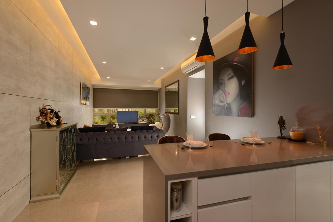 Flamingo Valley, The Orange Cube, Contemporary, Living Room, Condo, Hanging Lights, Island Table, Table Top, Open Kitchen, Sofa, Art Piece, Human, People, Person, Appliance, Electrical Device, Oven, Indoors, Interior Design, Kitchen, Room