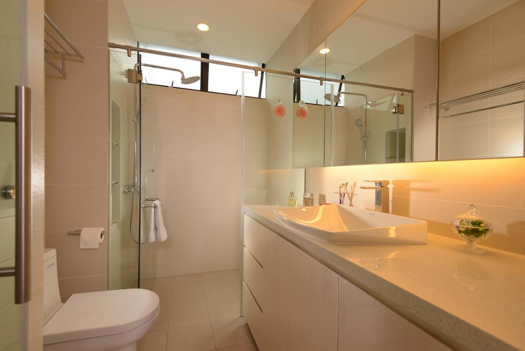 Traditional, Condo, Bathroom, Mandarin Gardens, Interior Designer, The Orange Cube, Down Ligght, Flooring, Tiles, Mirror, Storage, Cove Ligth, Shower Screen, Shower, Toliet Bowl, Sink, Indoors, Interior Design, Room