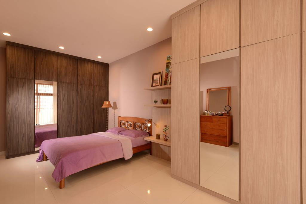Traditional, Condo, Bedroom, Mandarin Gardens, Interior Designer, The Orange Cube, Laminate, Cupboard, Wardrobe, Bed, Tiles, Down Light, Shleves, Indoors, Interior Design, Room