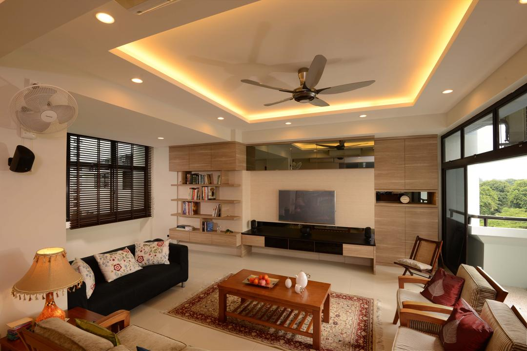 Mandarin Gardens, The Orange Cube, Traditional, Living Room, Condo, Cove Lights, Ceiling Fan, Down Light, Sofa, Coffe Table, Blinds, Tv, Cabinets, Shelves, Book Shelf, Tv Console, Arm Chair, Carpet, Balcony, Warmth, Lamp, Lampshade, Electronics, Entertainment Center, Home Theater, Couch, Furniture, Indoors, Room