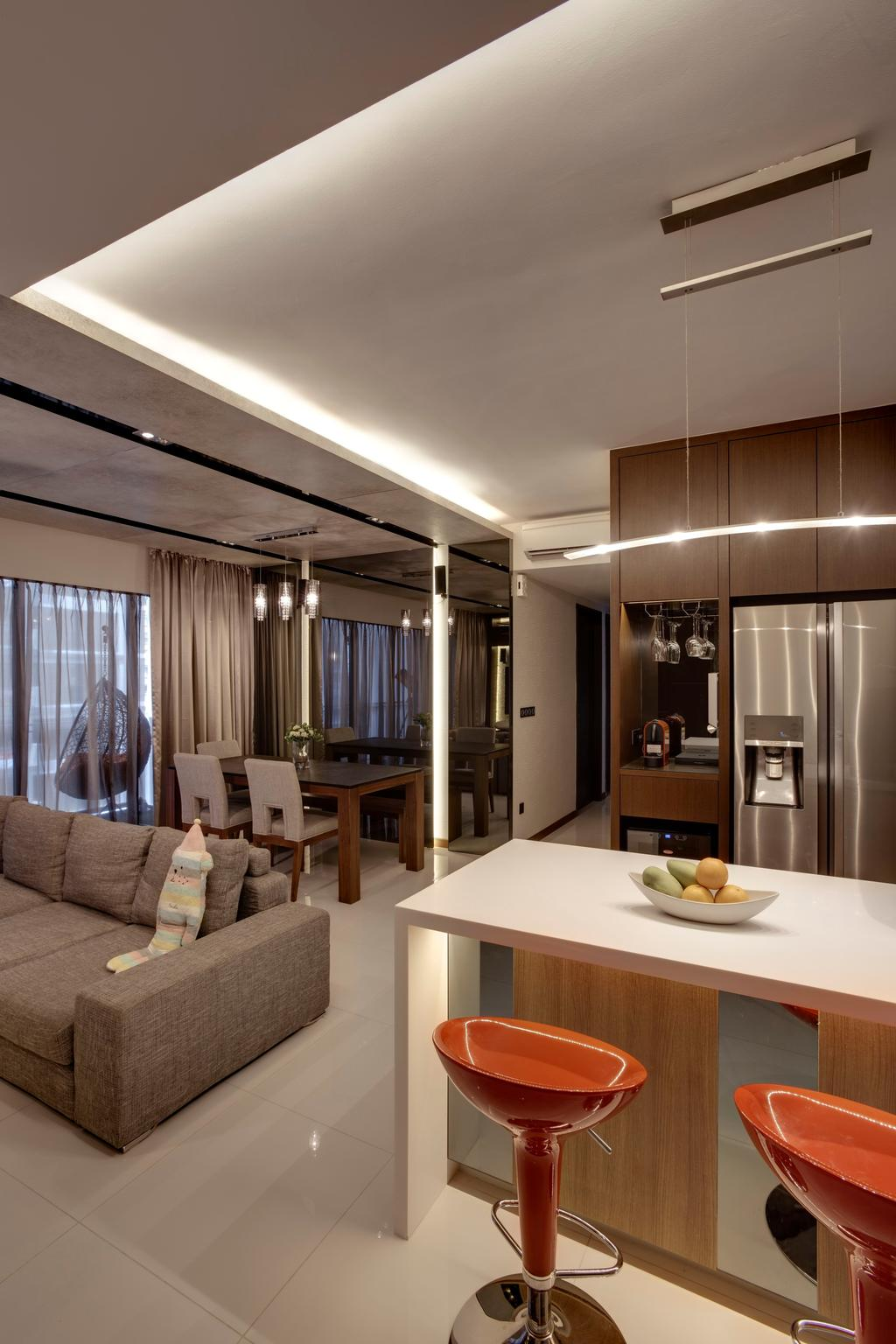 Contemporary, Condo, Living Room, RiverParc Residence, Interior Designer, The Orange Cube, Modern, Sofa, Dining Chairs, Dining Table, Bar Stool, Island Too, Fridge, Cabinets, Swing, Curtain, Mirror, Dining Lights, Balcony, Couch, Furniture, Lighting, Home Decor, Table, Dish, Food, Meal, Plate, Chair, Indoors, Interior Design