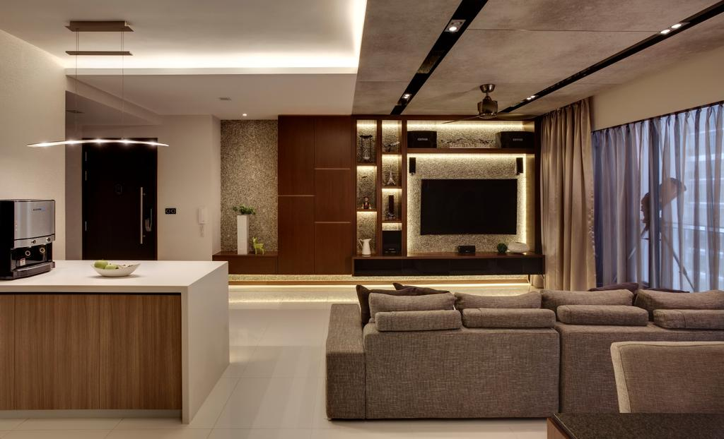 Contemporary, Condo, Living Room, RiverParc Residence, Interior Designer, The Orange Cube, Cove Lights, Sofa, Tv, Tv Console, Island Top, Coffee Machine, Clean, Modern, Curtain, Track Lights, Ceiling Fan, Electronics, Entertainment Center, Couch, Furniture, Bathroom, Indoors, Interior Design, Room