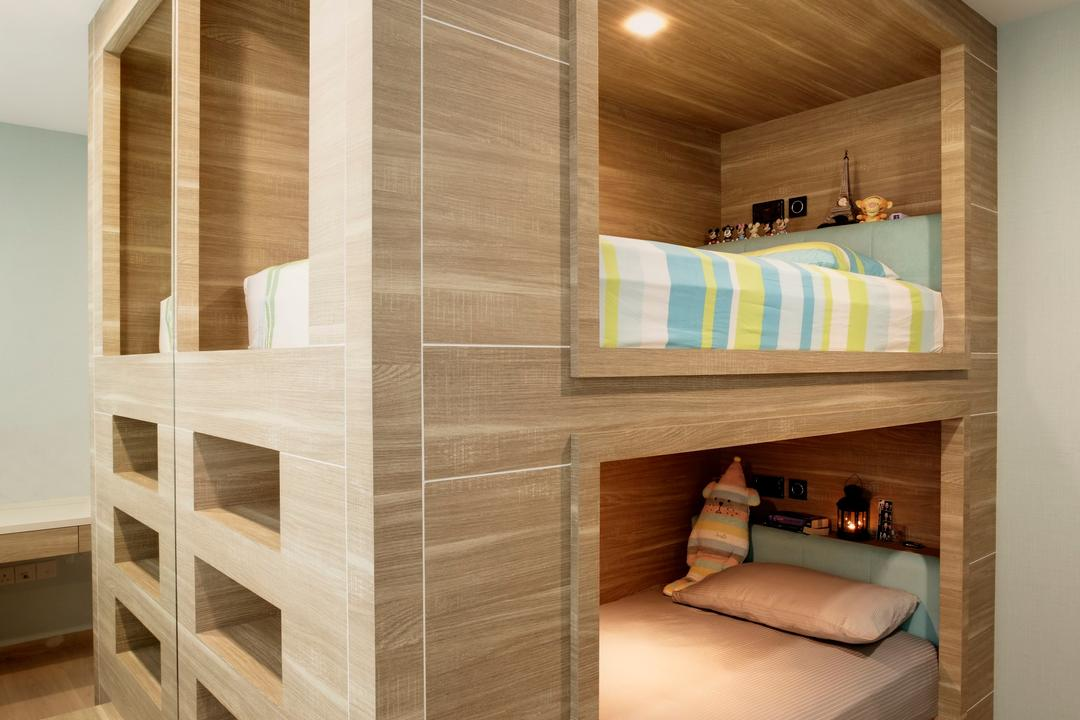 RiverParc Residence, The Orange Cube, Contemporary, Bedroom, Condo, Double Decker Bed, Laminate, Shelve, Bookcase, Furniture, Bed