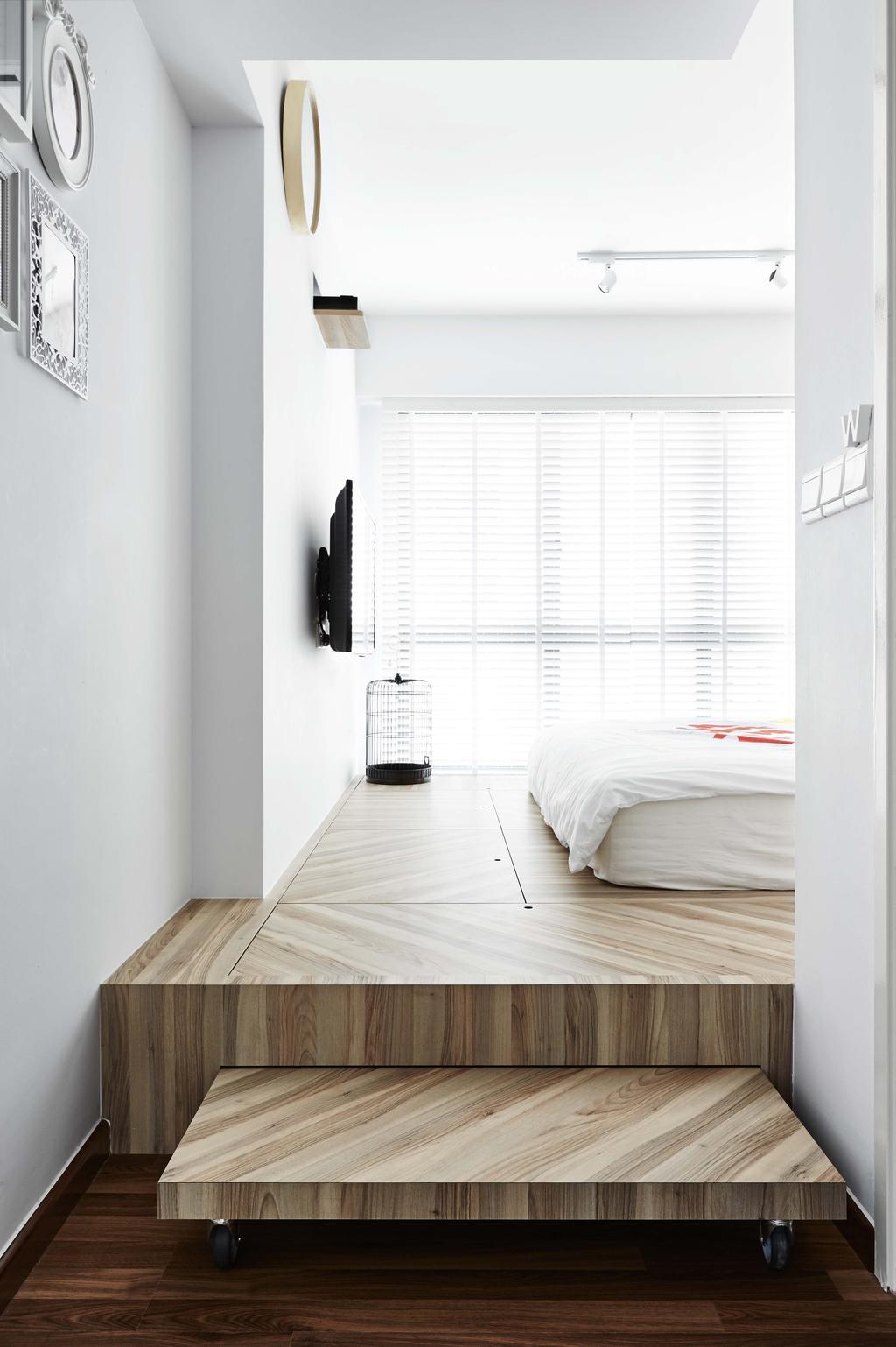 Industrial, HDB, Bedroom, Trivelis, Interior Designer, Dan's Workshop, Curtin, White, Platform, Storage, Hidden Storage, Bed, Tv