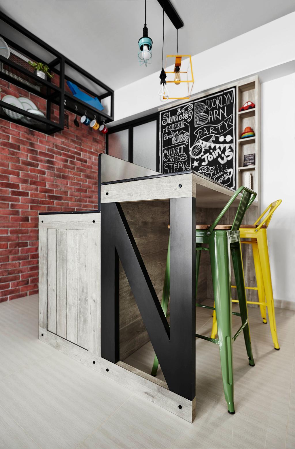 Industrial, HDB, Dining Room, Trivelis, Interior Designer, Dan's Workshop, Nails, Rivet, Crate, Bar Stool, Counter, Bar Counter, Mismatched Chairs
