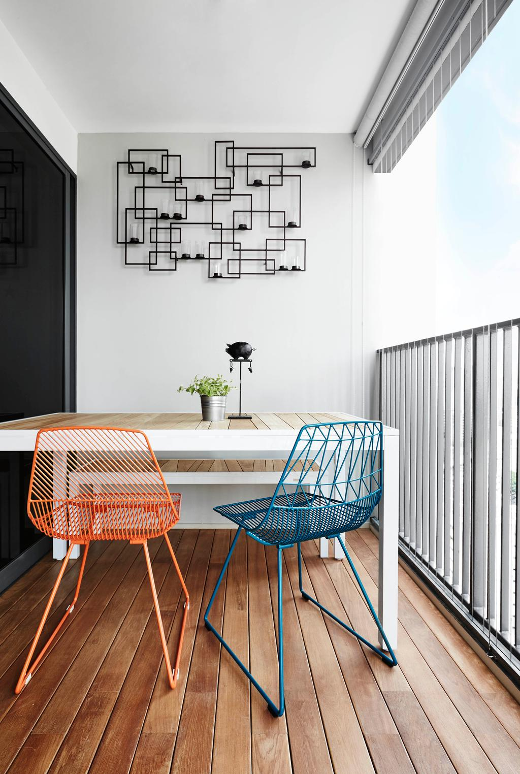 Industrial, HDB, Balcony, Trivelis, Interior Designer, Dan's Workshop, Wooden Deck, Wood Decking, Decking, Wood Planks, Grille, Wall Light, Invisible Grilles, Balcony Table, Mismatched Chairs, Wall Lights, Exposed Cables, Chair, Furniture, Dining Table, Table, Home Decor, Linen, Tablecloth