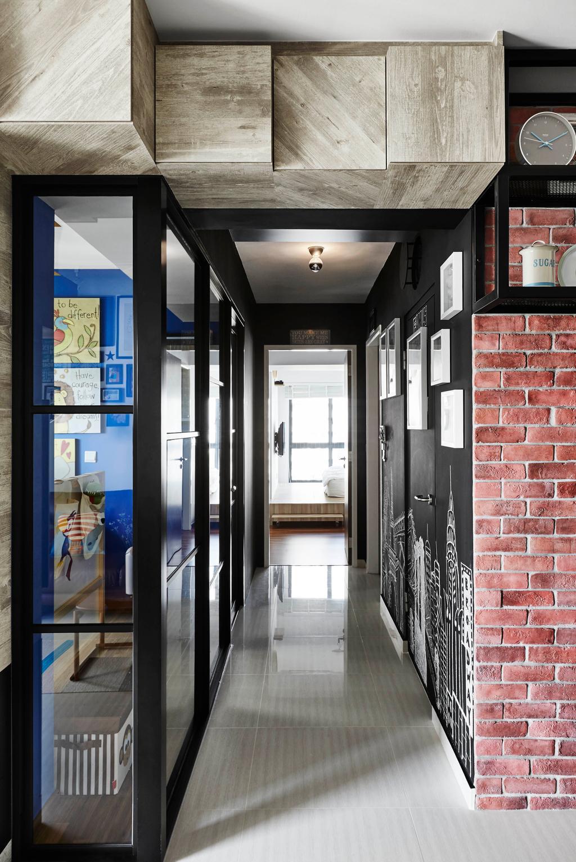 Industrial, HDB, Trivelis, Interior Designer, Dan's Workshop, Hallway, Corridor, Walkway, Tiles, Black Framed Partition, Bright, Airy, Bomb Shelter, Storeroom, Brick Wall