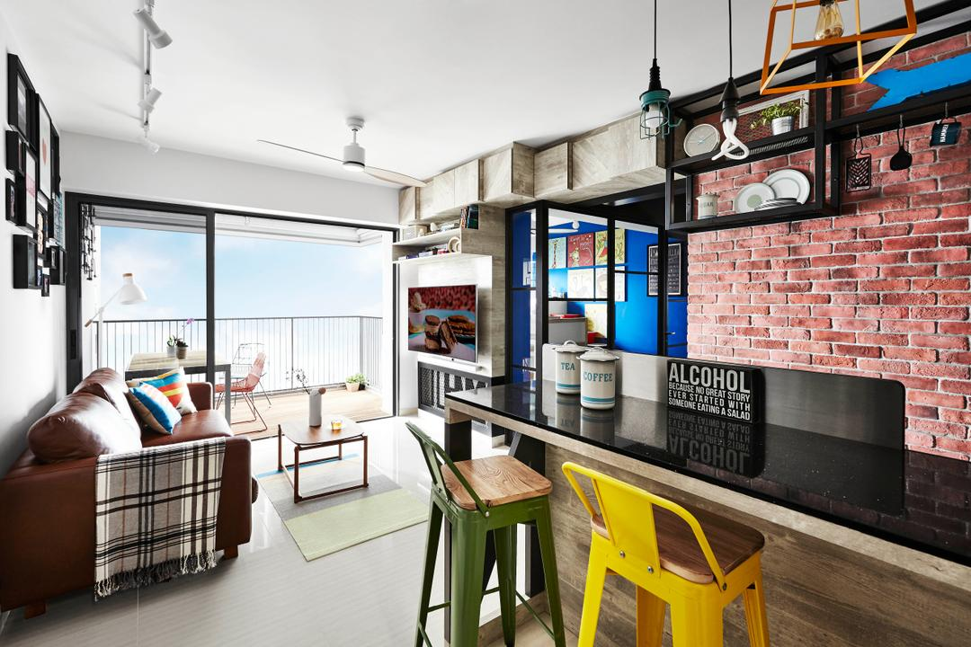 Trivelis, Dan's Workshop, Industrial, Dining Room, HDB, Dual Function, Industrial Table, Mismatched Chairs, Industrial Chairs, Bar Stool, Bar, Counter, Countertop, Brick, Building, Housing, Indoors, Loft, Dining Table, Furniture, Table, Bedroom, Interior Design, Room