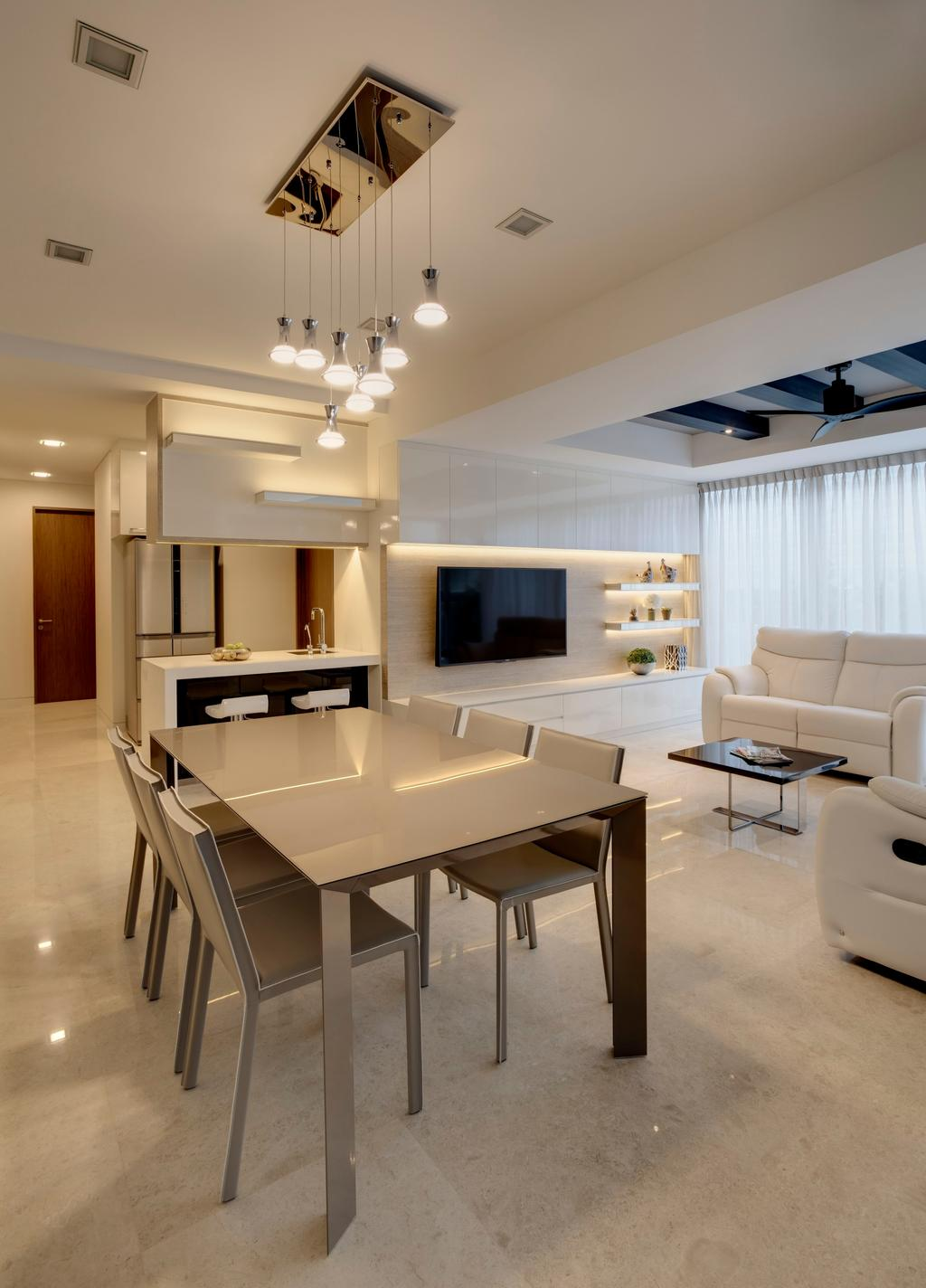Contemporary, Condo, Dining Room, St. Patrick's Residences, Interior Designer, The Orange Cube, Dining Table, Dining Chairs, Clean, White, Tiles, Sofa, Coffee Table, Tv, Tv Console, Shleves, Cove Lights, Cabinets, Bar Top, Bar Stools, Warm, Chair, Furniture, Table, Indoors, Interior Design, Room