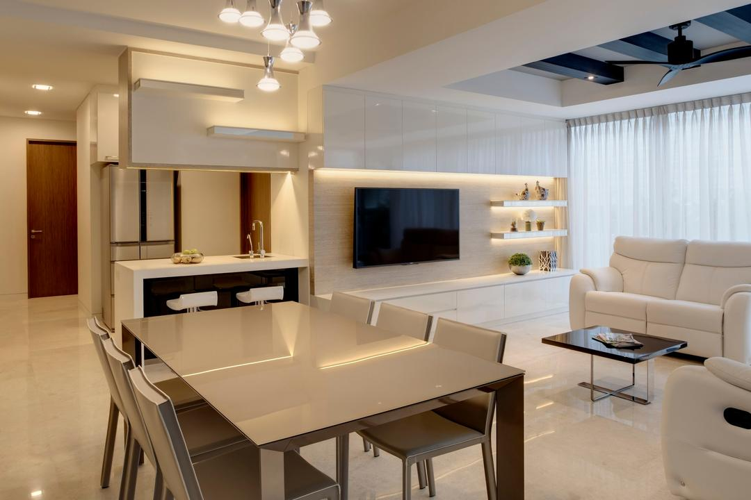 St. Patrick's Residences, The Orange Cube, Contemporary, Dining Room, Condo, Dining Table, Dining Chairs, Clean, White, Tiles, Sofa, Coffee Table, Tv, Tv Console, Shleves, Cove Lights, Cabinets, Bar Top, Bar Stools, Warm, Chair, Furniture, Table, Indoors, Interior Design, Room