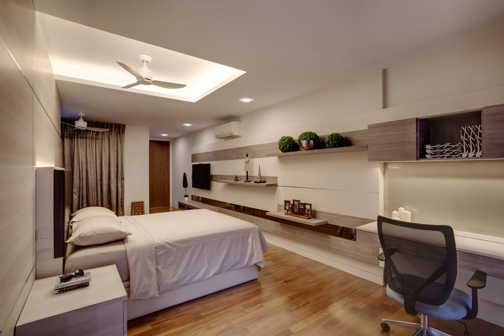 Contemporary, Condo, Bedroom, St. Patrick's Residences, Interior Designer, The Orange Cube, Clean White, Ceiling Fan, Cove Lights, Down Lights, Side Tables, Bed Frame, Study Desk, Roller Chair, Book Shelf, Parquet, Chair, Furniture, Sideboard, Indoors, Room