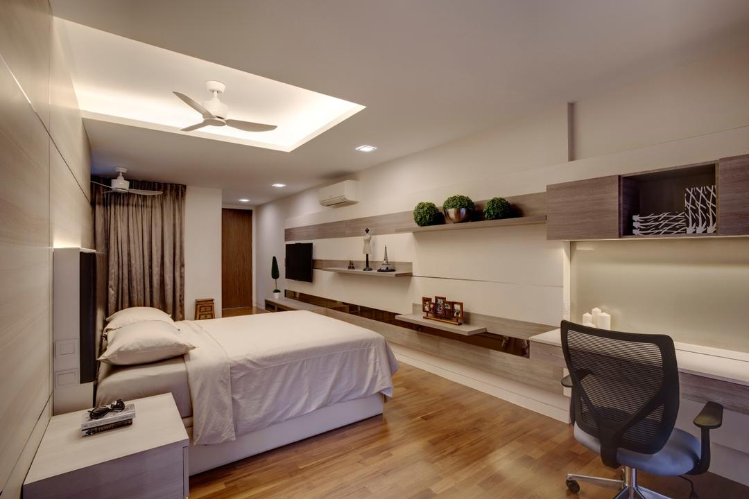 St. Patrick's Residences, The Orange Cube, Contemporary, Bedroom, Condo, Clean White, Ceiling Fan, Cove Lights, Down Lights, Side Tables, Bed Frame, Study Desk, Roller Chair, Book Shelf, Parquet, Chair, Furniture, Sideboard, Indoors, Room