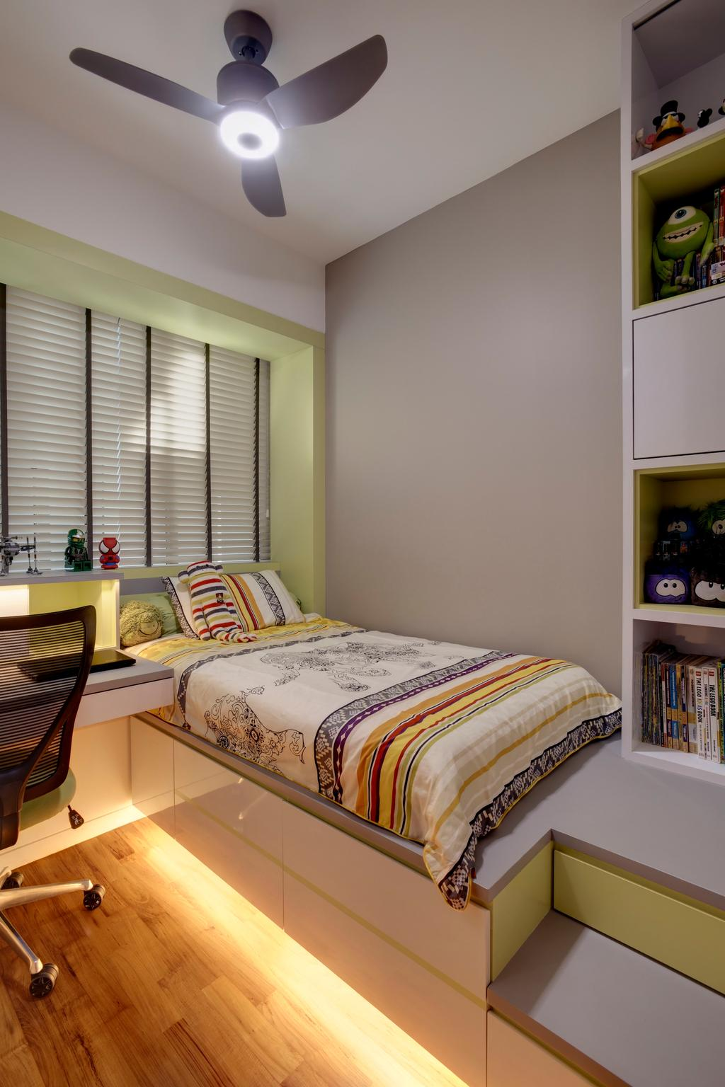 Contemporary, Condo, Bedroom, St. Patrick's Residences, Interior Designer, The Orange Cube, Ceiling Fan, Blinds, Bed Frame, Bed, Platform, Cove Lights, Study Desk, Croller Chairs, Shelving, Storage, White Board, Indoors, Interior Design, Room, Furniture, Chair