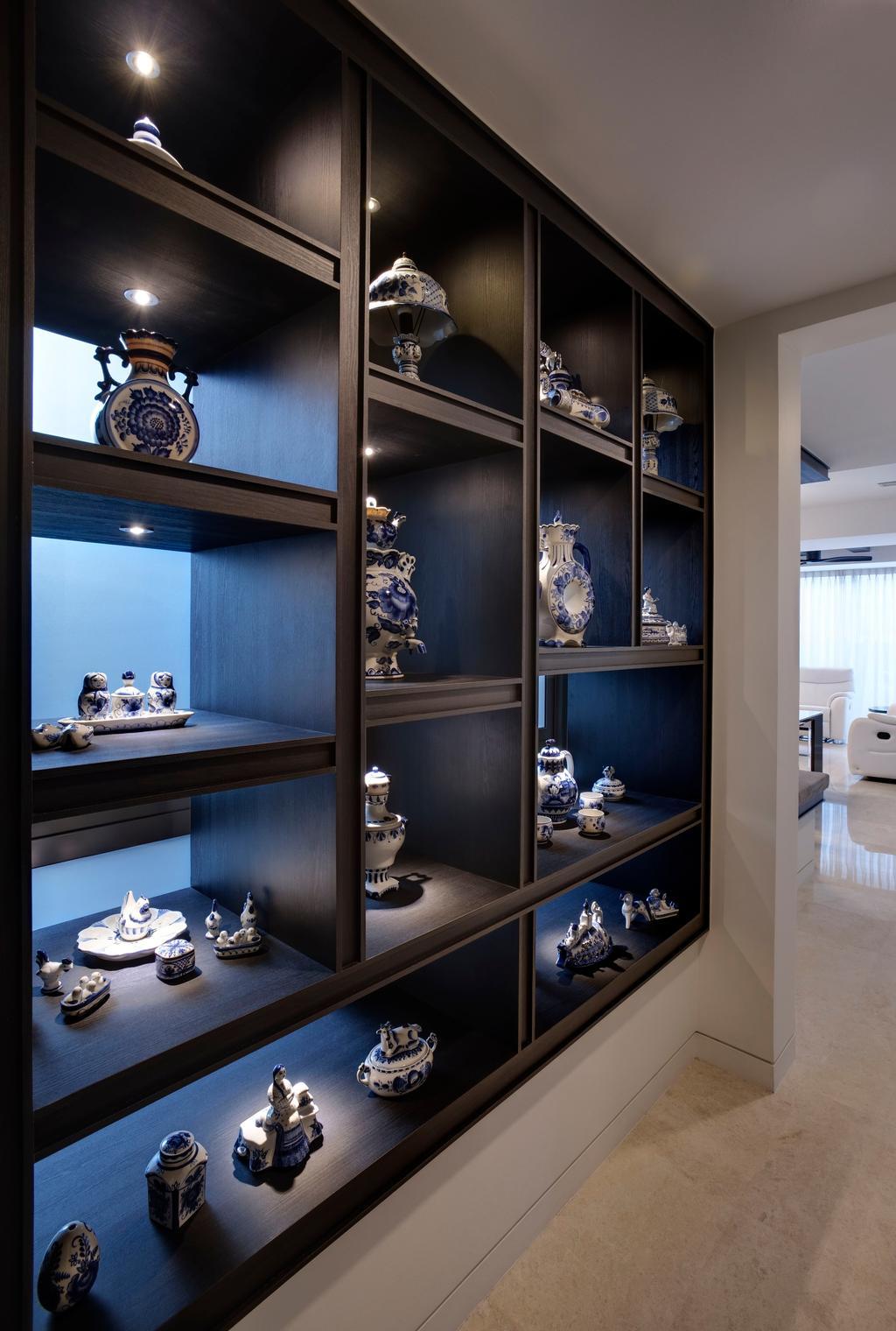 Contemporary, Condo, Living Room, St. Patrick's Residences, Interior Designer, The Orange Cube, Shelve, Tiles, Collector Items, Shelf