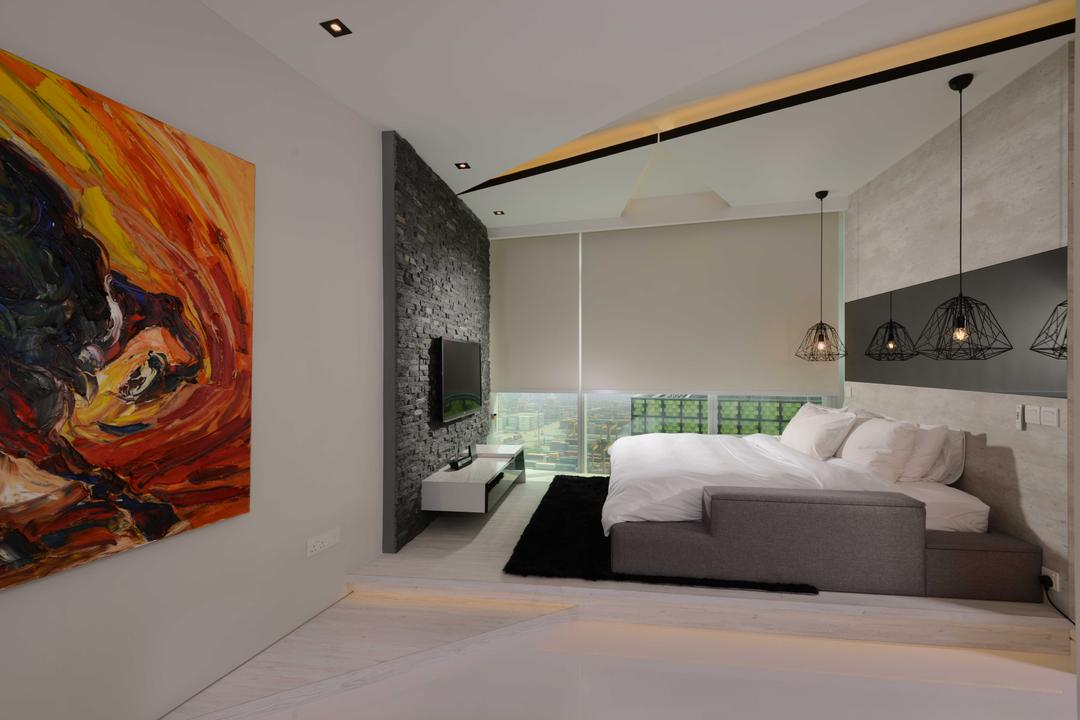 The Shenton, The Orange Cube, Contemporary, Bedroom, Condo, Art Piece, Platform, Bed, Bed Lights, Hangling Lights, Bedframe, Blinds, Feature Wall, Tv, Tv Console, Modern, Indoors, Interior Design, Room, Art, Painting