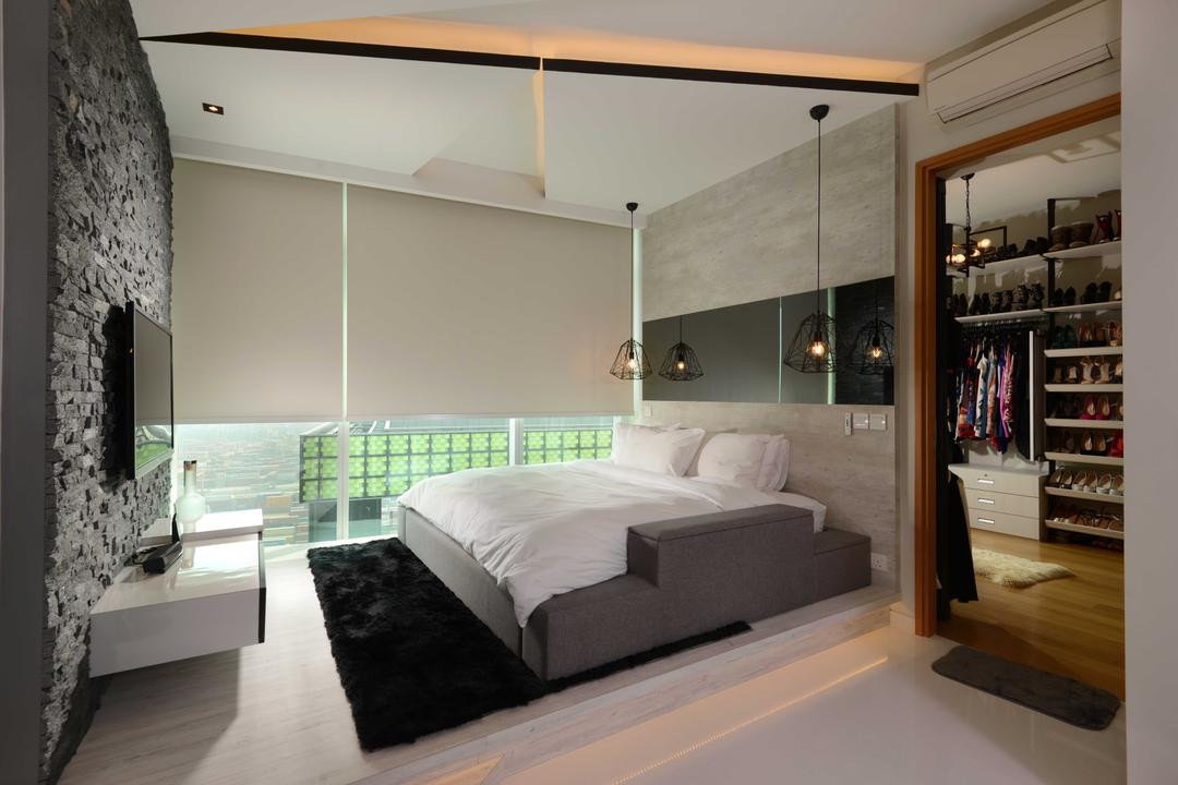 The Shenton, The Orange Cube, Contemporary, Bedroom, Condo, Walk In Wardrobe, Hangling Lights, Platform, Bed Frame, Blinds, Feature Wall, Tv, Tv Console, Bed, Furniture, Indoors, Interior Design, Room
