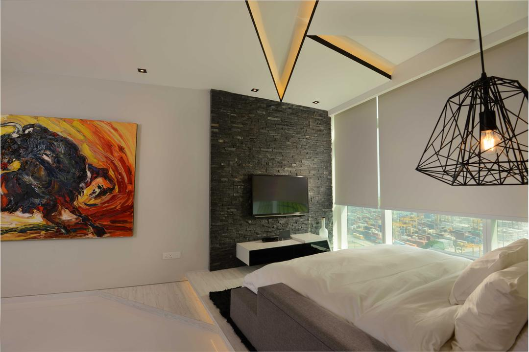The Shenton, The Orange Cube, Contemporary, Bedroom, Condo, Feature Wall, Tv, Tv Console, Art Piece, Platform, Bed Frame, Hanging Lights, Cove Lights, Down Lights, Blinds, Bed, Furniture, Indoors, Interior Design, Room, Light Fixture, Art, Painting