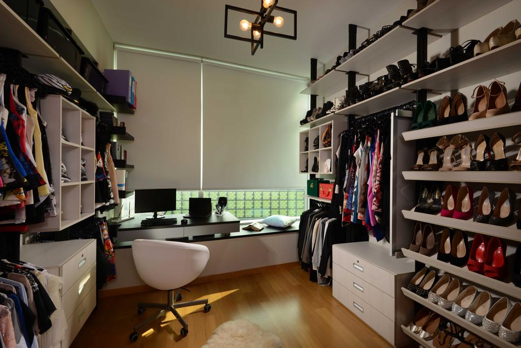 Contemporary, Condo, Bedroom, The Shenton, Interior Designer, The Orange Cube, Walk In Wardrobe, Wardrobe, Roller Chairs, Study Desk, Blinds, Lights, Shoes, Clothes, Open Shelving, Parquet, Appliance, Electrical Device, Oven, Indoors, Interior Design, Library, Room