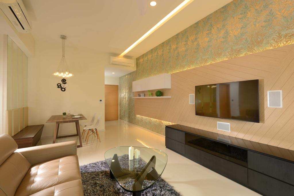 Contemporary, Condo, Living Room, Vacanza@East, Interior Designer, The Orange Cube, Dining Lights, Dining Table, Dining Chairs, Sofa, Coffee Table, Tv Console, Tv, Wall Papaer, Cove Lights, Down Lights, Indoors, Interior Design, Chair, Furniture