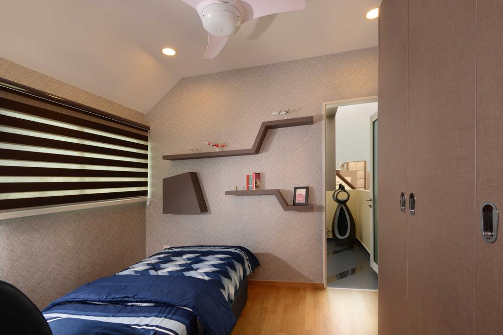 Contemporary, Condo, Bedroom, Vacanza@East, Interior Designer, The Orange Cube, Cupboard, Laminate, Parquet, Bed, Wall Shelf, Blinds, Down Lights, Ceiling Fan, Shelf