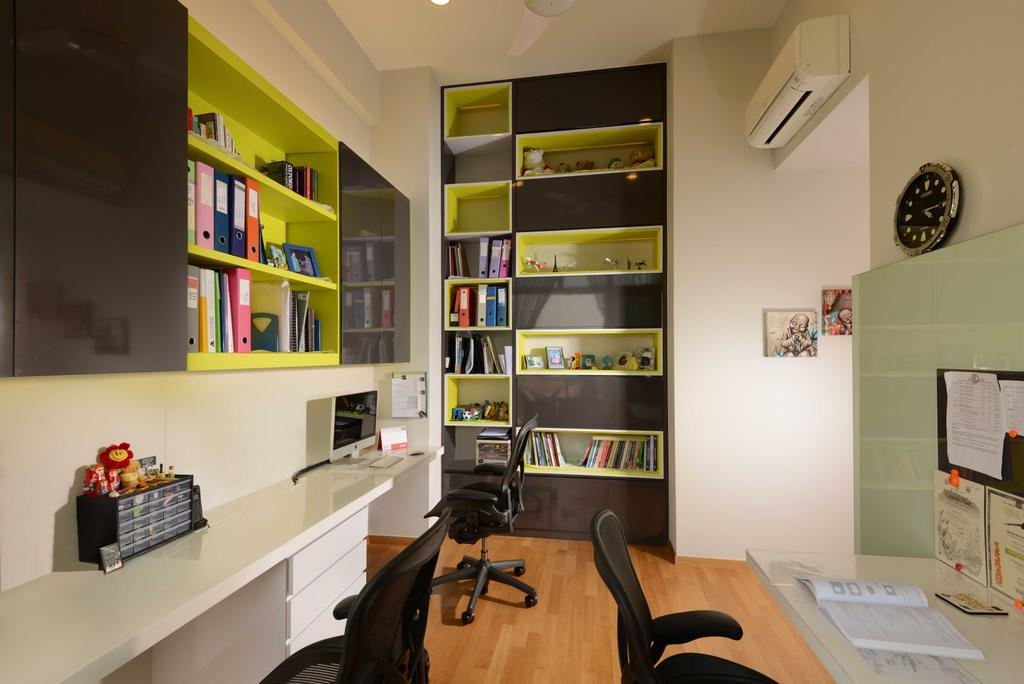 Contemporary, Condo, Study, Vacanza@East, Interior Designer, The Orange Cube, Cabinets, Book Shelf, Study Table, Roller Chairs, Parquet, Aircon, Couch, Furniture, Appliance, Electrical Device, Oven, Shelf, Indoors, Interior Design