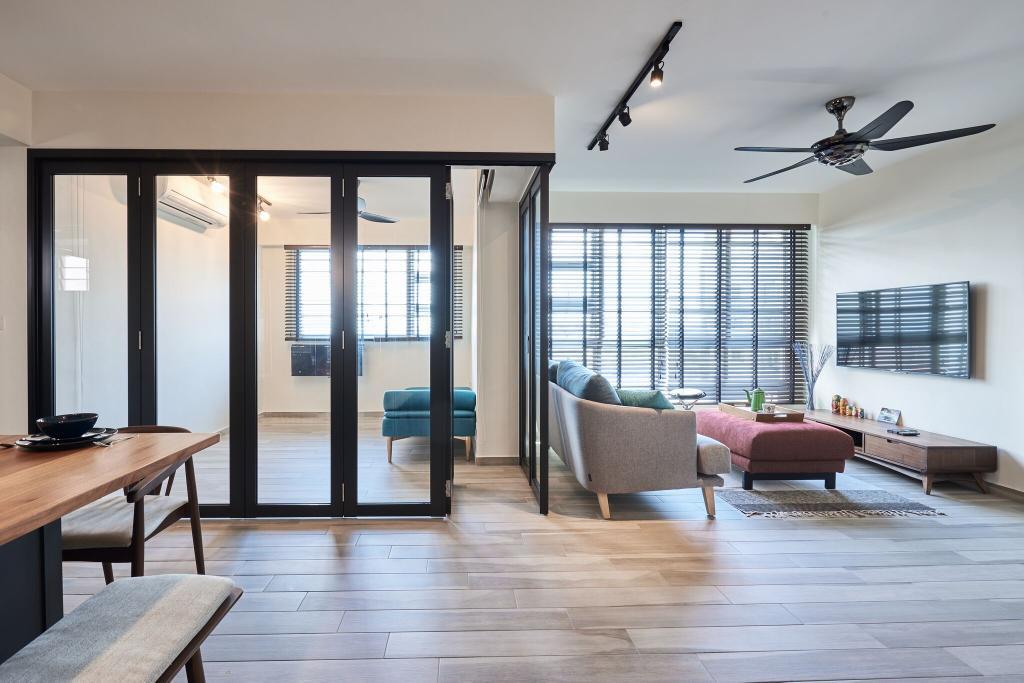 Contemporary, HDB, Living Room, Ang Mo Kio Street 44, Interior Designer, Charlotte's Carpentry, Flooring, Dining Room, Indoors, Interior Design, Room, Chair, Furniture