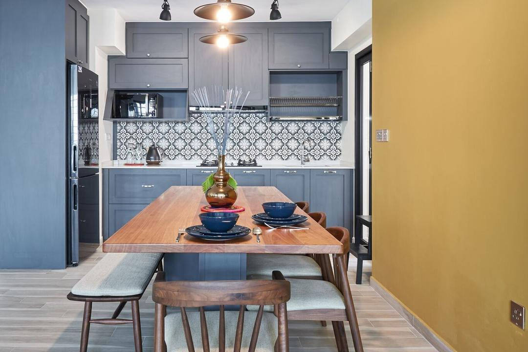 Ang Mo Kio Street 44, Charlotte's Carpentry, Contemporary, Dining Room, HDB, Indoors, Interior Design, Room, Dining Table, Furniture, Table, Chair, Tabletop